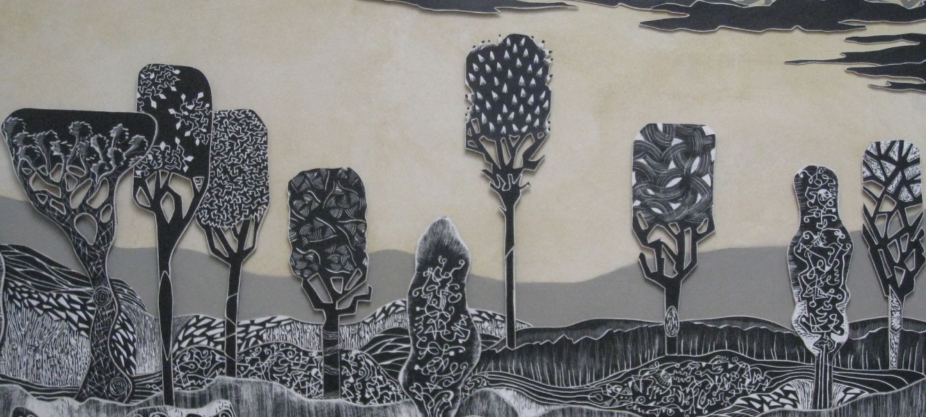 Peinture Ten trees in Tuscany de Rebecca Hayward